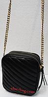 Черная кожаная сумочка на цепочке, фото 1