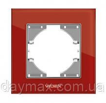 VIDEX BINERA Рамка червоне скло одинарна горизонтальна