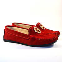 Мокасины замшевые летние красные женская обувь больших размеров Ornella M4 O`Red by Rosso Avangard, фото 1