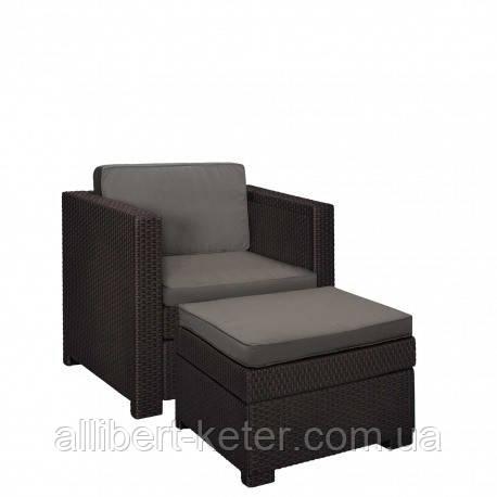 Садове крісло з додатковим столиком та подушкою PROVENCE CHILLOUT SET темно-коричневий ( Keter )