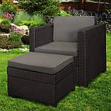 Садове крісло з додатковим столиком та подушкою PROVENCE CHILLOUT SET темно-коричневий ( Keter ), фото 3