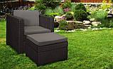 Садове крісло з додатковим столиком та подушкою PROVENCE CHILLOUT SET темно-коричневий ( Keter ), фото 7