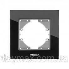 VIDEX BINERA Рамка чорне скло одинарна горизонтальна