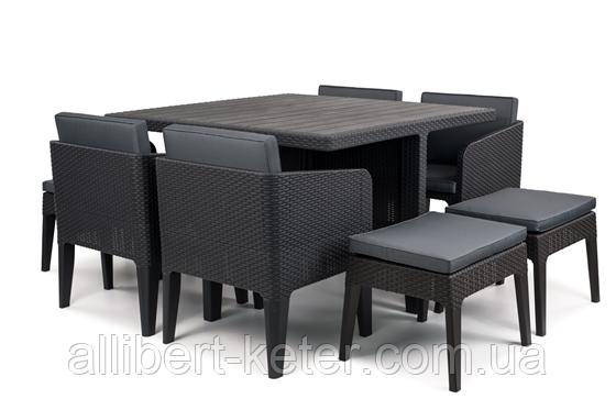 Комплект садових меблів зі штучного ротангу COLUMBIA SET 9 PCS графіт (Keter)