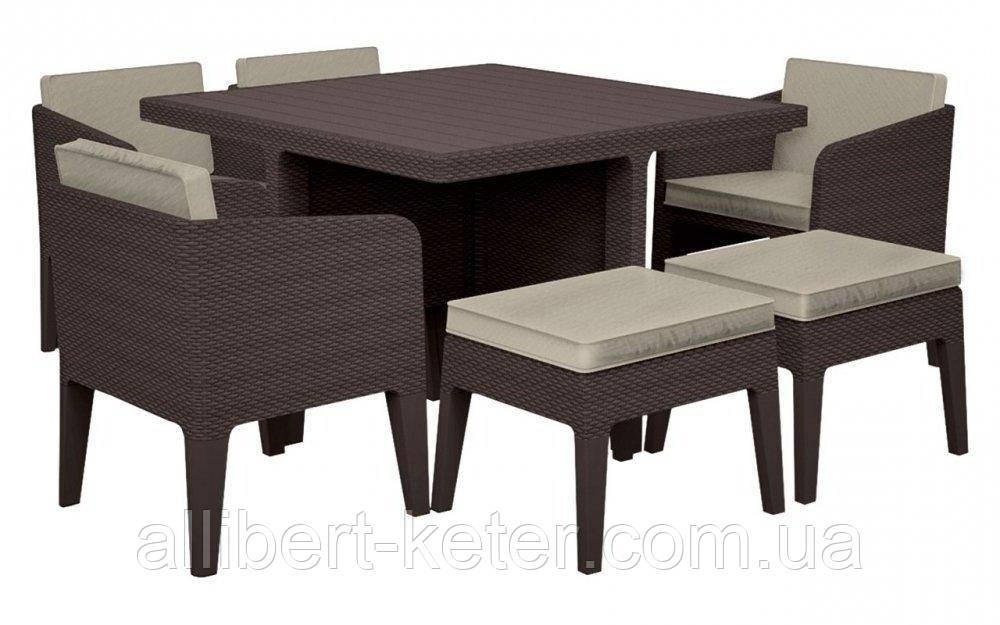 Комплект садових меблів зі штучного ротангу COLUMBIA SET 7 PCS темно-коричневий (Keter)