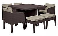 Комплект садових меблів зі штучного ротангу COLUMBIA SET 7 PCS темно-коричневий (Keter), фото 1