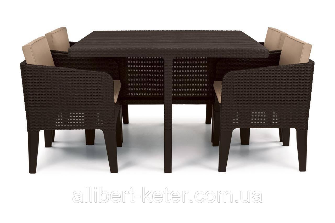 Комплект садових меблів зі штучного ротангу COLUMBIA SET 5 PCS темно-коричневий (Keter)
