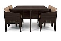 Комплект садових меблів зі штучного ротангу COLUMBIA SET 5 PCS темно-коричневий (Keter), фото 1