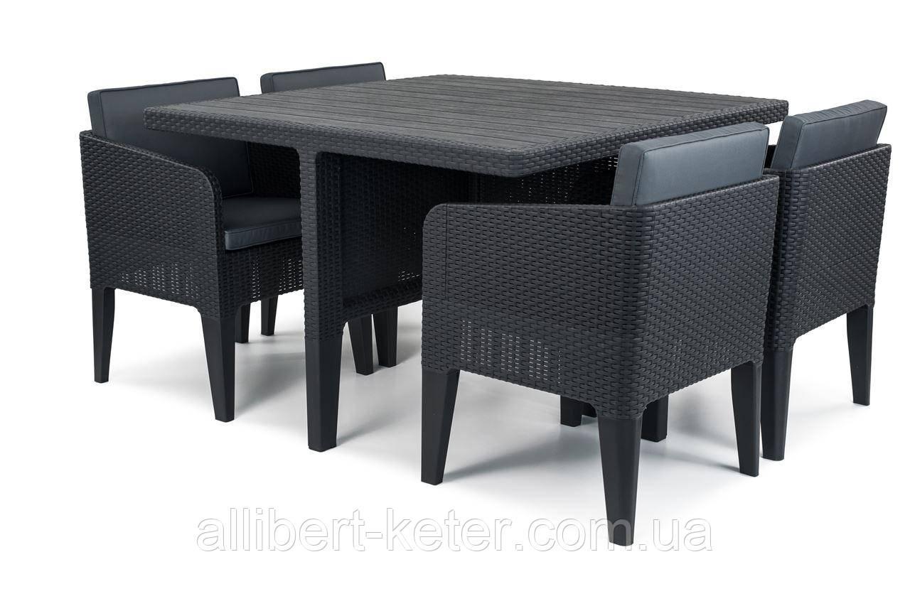 Комплект садових меблів зі штучного ротангу COLUMBIA SET 5 PCS графіт (Keter)
