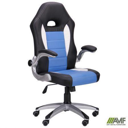 Кресло геймерское игровое Run blue с механизмом качания обивка кожа