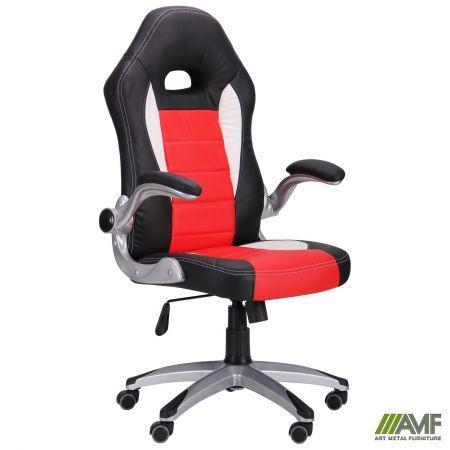 Кресло геймерское игровое Run red с механизмом качания обивка кожа
