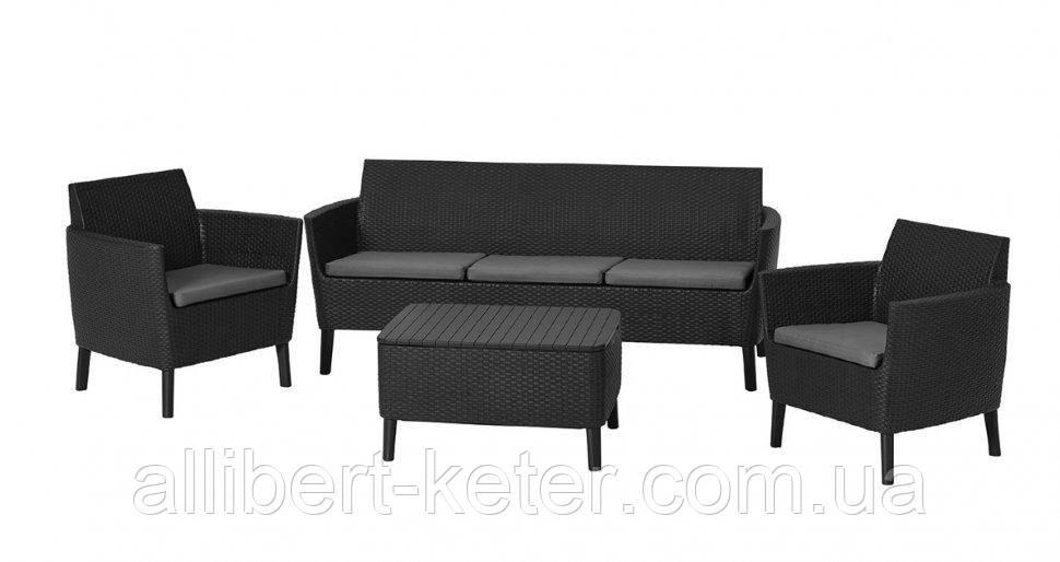 Комлект садових меблів зі штучного ротангу SALEMO 3 SEATER SET графіт (Keter)