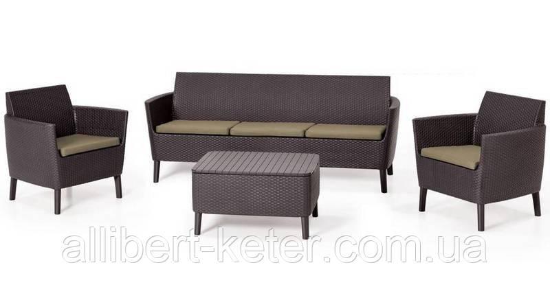 Комлект садових меблів зі штучного ротангу SALEMO 3 SEATER SET темно-коричневий (Keter)