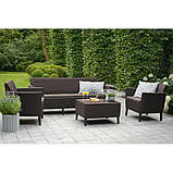 Комлект садових меблів зі штучного ротангу SALEMO 3 SEATER SET темно-коричневий (Keter), фото 7