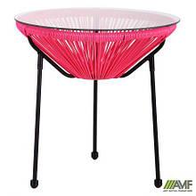 Стіл Agave чорний, ротанг рожевий