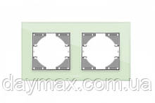 VIDEX BINERA Рамка зелене скло 2 поста горизонтальна
