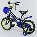 """Двухколесный детский велосипед темно-синий ручной тормоз звоночек корзинка Corso 14"""" деткам 3-5 лет, фото 2"""