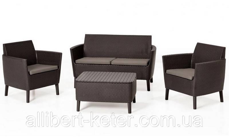 Комплект садових меблів зі штучного ротангу SALEMO SET темно-коричневий ( Keter )