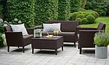 Комплект садових меблів зі штучного ротангу SALEMO SET темно-коричневий ( Keter ), фото 7