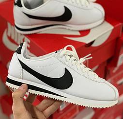 Женские и мужские кроссовки Nike Cortez белые с черным. Живое фото. Топ реплика ААА+