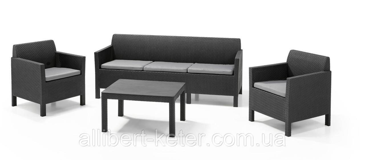 Комплект садових меблів зі штучного ротангу  ORLANDO SET WITH 3 SEAT SOFA графіт (Allibert)