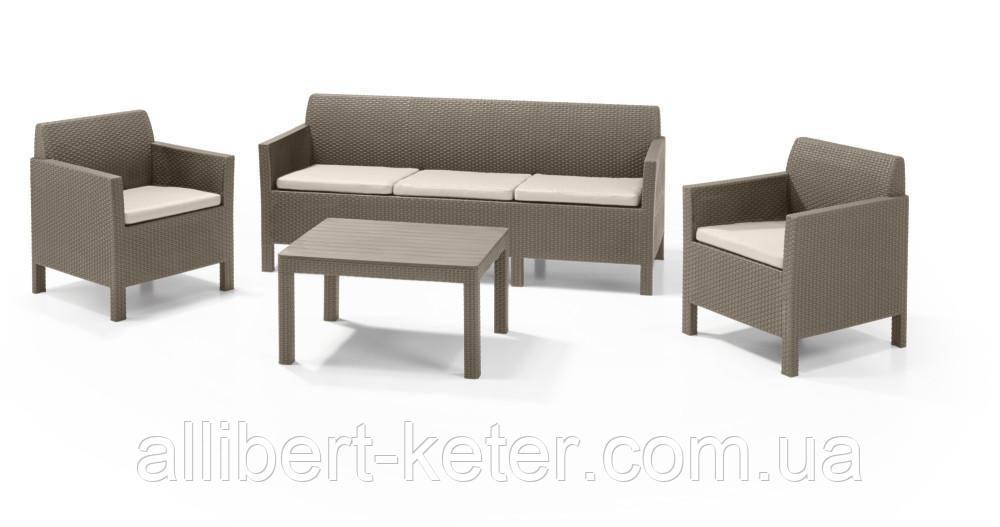 Комплект садових меблів зі штучного ротангу  ORLANDO SET WITH 3 SEAT SOFA капучіно (Allibert)