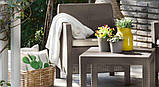 Комплект садових меблів зі штучного ротангу ORLANDO SET WITH SMALL TABLE капучіно ( Allibert ), фото 9
