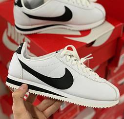 Мужские и женские кроссовки Nike Cortez белые с черным. Живое фото. Топ реплика ААА+