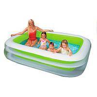 Детский надувной бассейн INTEX 56483 семейный, прямоугольный 2 кольца 262-175-56 см