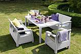 Комплект садових меблів зі штучного ротангу CORFU FIESTA білий ( Allibert ), фото 5