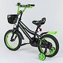 """Двухколесный детский велосипед черный ручной тормоз звоночек корзинка Corso 14"""" деткам 3-5 лет, фото 2"""