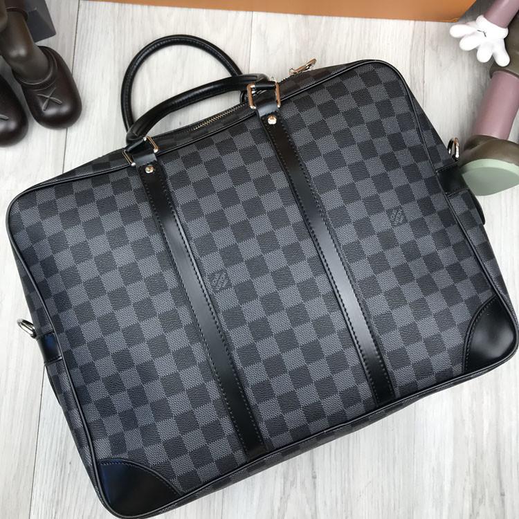 Брендовая сумка для ноутбука Louis Vuitton LV серая кожаная сумка для ноутбука Луи Виттон Модная копия