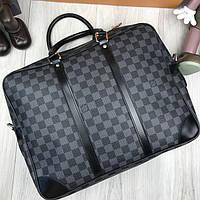 Брендовая сумка для ноутбука Louis Vuitton LV серая кожаная сумка для ноутбука Луи Виттон Модная копия, фото 1
