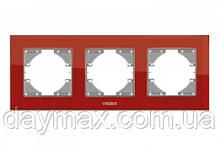 VIDEX BINERA Рамка червоне скло 3 поста горизонтальна