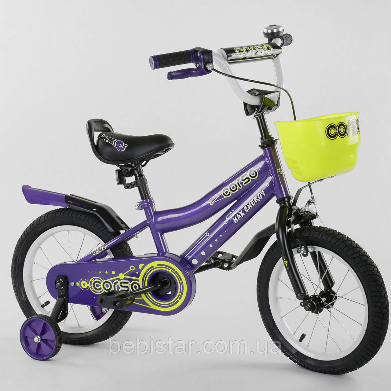 """Двухколесный детский велосипед фиолетовый ручной тормоз звоночек корзинка Corso 14"""" деткам 3-5 лет"""