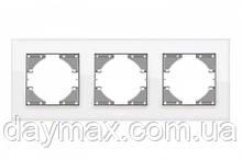 VIDEX BINERA Рамка біле скло 3 поста горизонтальна