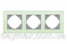 VIDEX BINERA Рамка зелене скло 3 поста горизонтальна