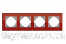 VIDEX BINERA Рамка червоне скло 4 поста горизонтальна
