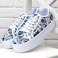 a52d6510 Кеды женские на платформе белые цветочный принт WOW слипоны на шнуровке,  Разноцветный, 40