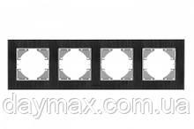 VIDEX BINERA Рамка чорне скло 4 поста горизонтальна