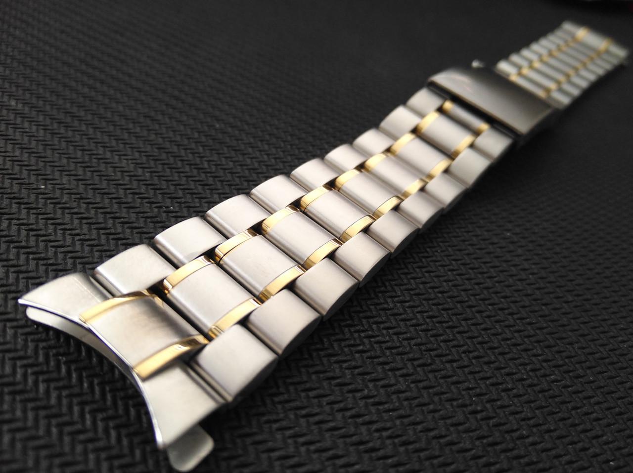 Браслет для часов из нержавеющей стали, глянец/мат с позолотойй. 22 мм