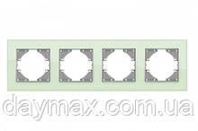 VIDEX BINERA Рамка зелене скло 4 поста горизонтальна