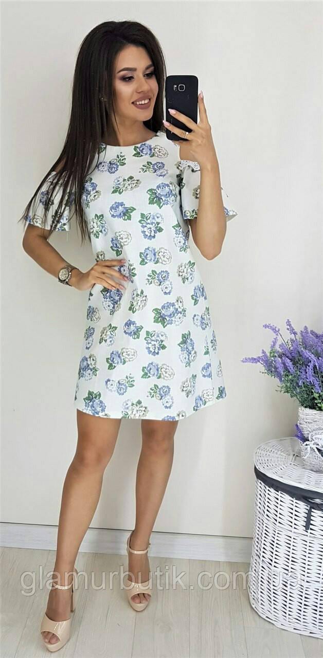 c2080f30013 Летнее льняное платье сарафан с кружевом и с цветочным принтом белое 42 44  46 - GlamurButik