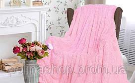 """Хутряне покривало з довгим ворсом """"рожевий Ведмедик"""" 160х210 полуторна"""