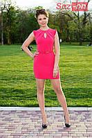 Платье миди с поясом - Малиновый
