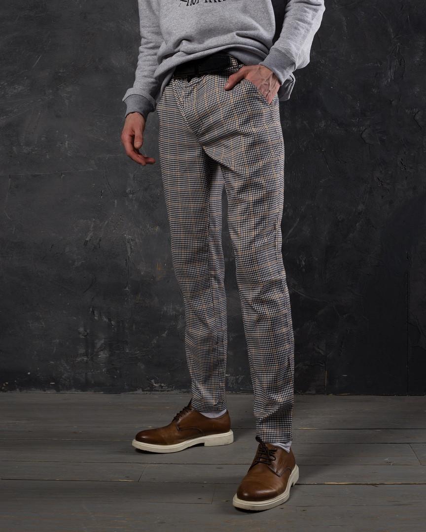 8cc5b32fc8b6 Брюки мужские Strange в мелкую клетку серые - Интернет-магазин обуви и одежды  KedON в