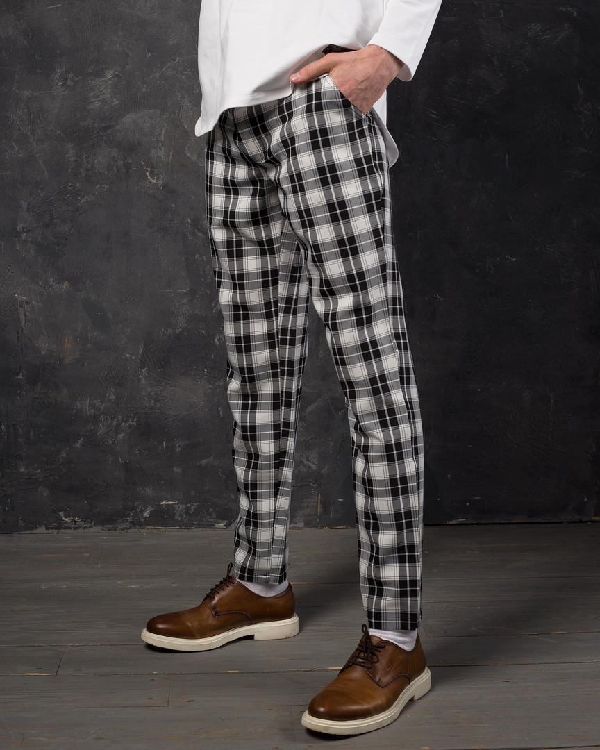 9f296386bed4 Брюки мужские Strange в черно-белую клетку - Интернет-магазин обуви и одежды  KedON