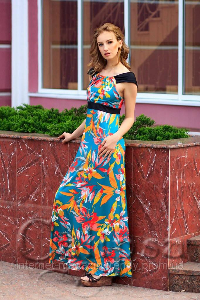 Летнее платье в пол в цветочной расцветке (2 цвета) 1027