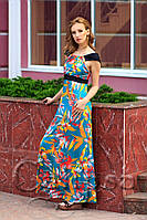 Летнее платье в пол в цветочной расцветке (2 цвета) 1027, фото 1