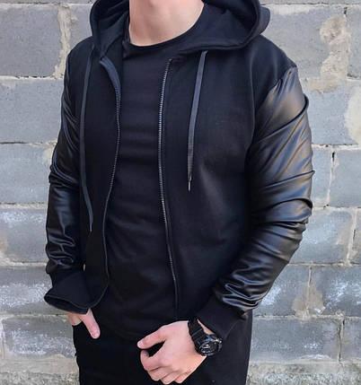 Бомбер мужской серый с капюшоном и рукавами из кожзама , фото 2